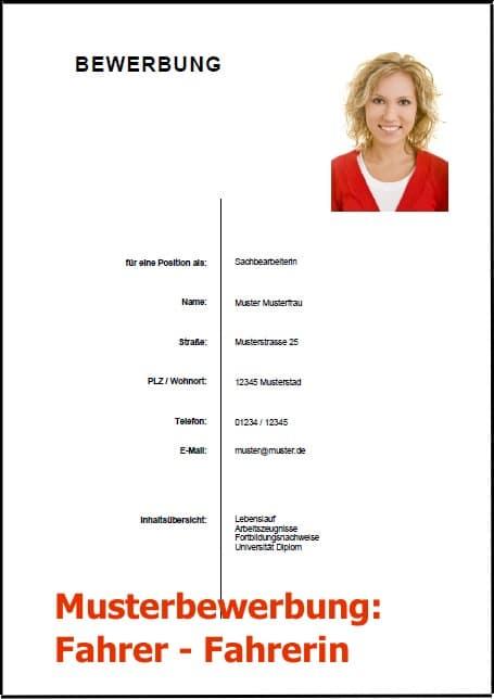 Bewerbung Fahrer - Fahrerin (Bewerbung Download)