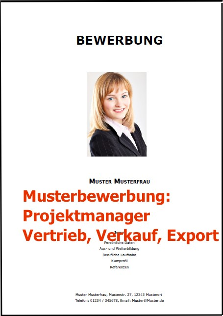 Bewerbung Projektmanager Vertrieb Verkauf Export