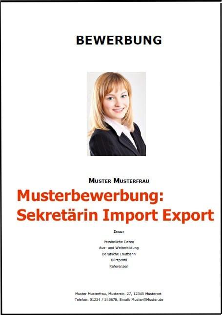 Bewerbung Sekretärin Export Import