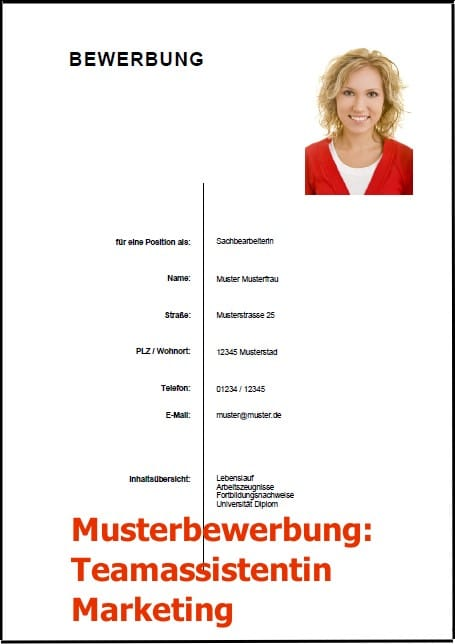 Bewerbung Teamassistentin Marketing